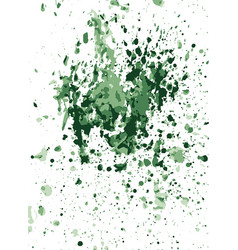 Green watercolor stains on crumpled paper vector