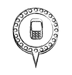 monochrome sketch with cell phone in circular vector image