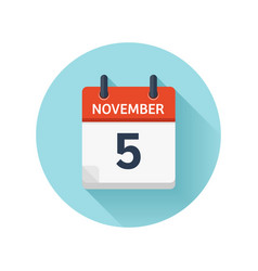 November 5 flat daily calendar icon date vector