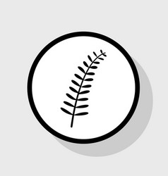 Olive twig sign flat black icon in white vector