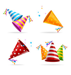party hat color set vector image vector image