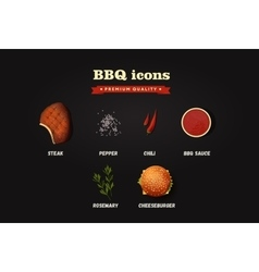 Realistic bbq icons set top view vector