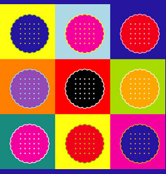 Round biscuit sign pop-art style colorful vector