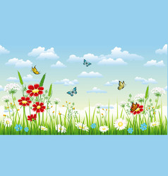 seamless flower background with flowers and vector image