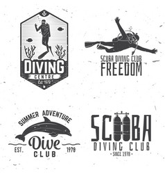 set of scuba diving club and diving school design vector image vector image