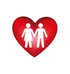silhouette couple inside of colorful heart vector image