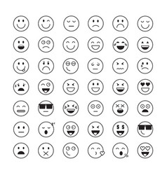smiling cartoon face people emotion icon set vector image vector image