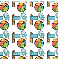 Surfboard with ice lolly and ball beach background vector