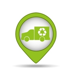 Truck recycle icon pin map vector