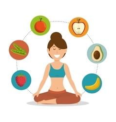 Woman healthy food lifesytle vector