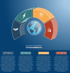 Infographic semicircle and globe numbered 4 vector