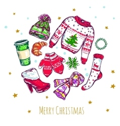 Merry Christmas Clothes Composition vector image