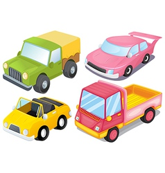Four colorful vehicles vector