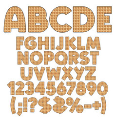 Alphabet numbers and signs from wafers vector