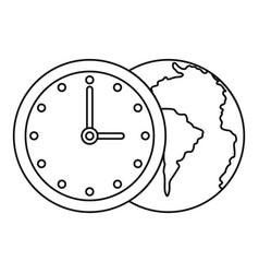 world planet with watch icon outline style vector image