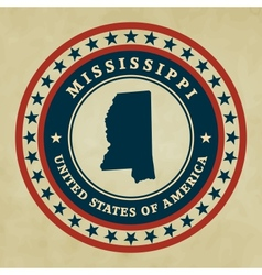 Vintage label mississippi vector