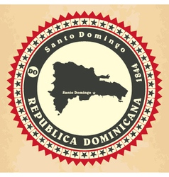 Vintage label-sticker cards of dominican republic vector