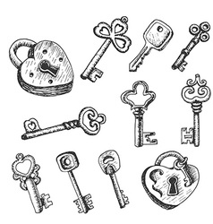 Set of isolated keys in sketch style vector