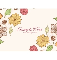 Warm fall lineart flowers horizontal double vector