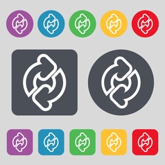 Refresh icon sign a set of 12 colored buttons flat vector