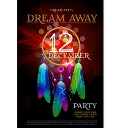 Dream away party flyer dreamcatcher vector