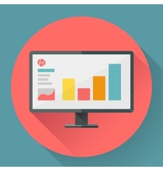 Flat style icon of wide angle monitor with vector