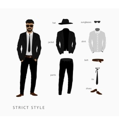 Set strict style of menswear vector