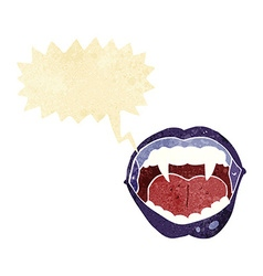 Cartoon vampire mouth with speech bubble vector