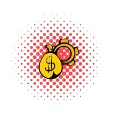 Money bag icon comics style vector