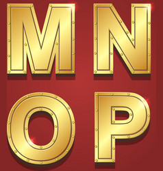Gold letters alphabet font style m n o p vector