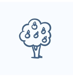 Fruit tree sketch icon vector