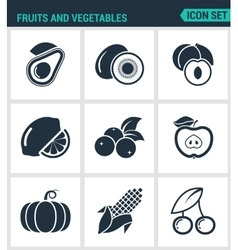 Set of modern icons fruits and vegetables vector