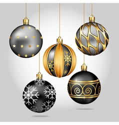 Black christmas ornaments hanging on gold thread vector