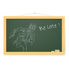 Blackboard with businessman running on white vector