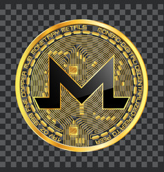 Crypto currency monero golden symbol vector