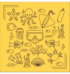 Diving icons set with fish and equipment vector image