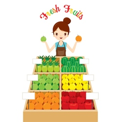 Female shopkeeper with a lot of fruits in shop vector