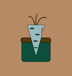 Flat icon design collection turnip in soil vector