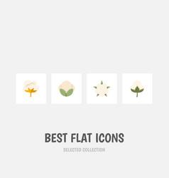 Flat icon fiber set of cotton flower fiber and vector