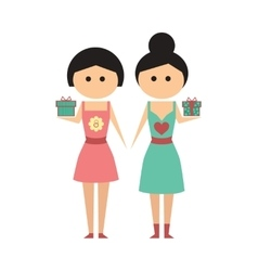 Flat icon on white background two girls gifts vector