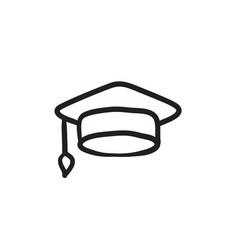 Graduation cap sketch icon vector