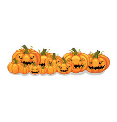 Halloween orange pumpkins banner vector