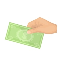 Hands giving money icon in cartoon style isolated vector