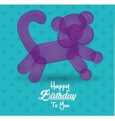 Happy birthday to you card with balloon cat shape vector