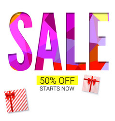 Holiday sale with gift advertising banner on vector