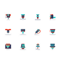 lasers flat color icons collection vector image