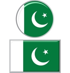 Pakistani round and square icon flag vector