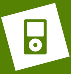 Portable music device white icon obtained vector