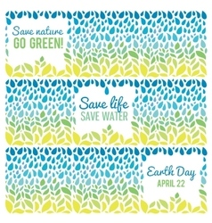 Save water - save life Hand drawn drops and green vector image