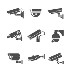 Security Cameras Icons Set vector image